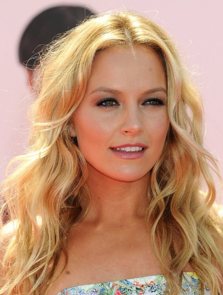 Casual Middle Parted Long Blonde Hairstyle With Loose Waves pertaining to Long Hairstyles Parted In The Middle