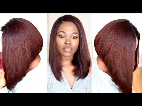 Chestnut Brown Long Bob Hairstyle Tutorial - Youtube for Long Bob Hairstyles With Bangs Weave