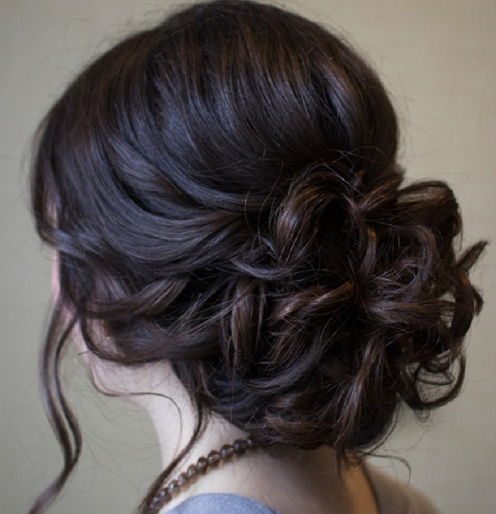 Chic Messy Wedding Updo For Straight Hair Bridal Hairstyle – This Throughout Jewelled Basket Weave Prom Updos (View 3 of 25)
