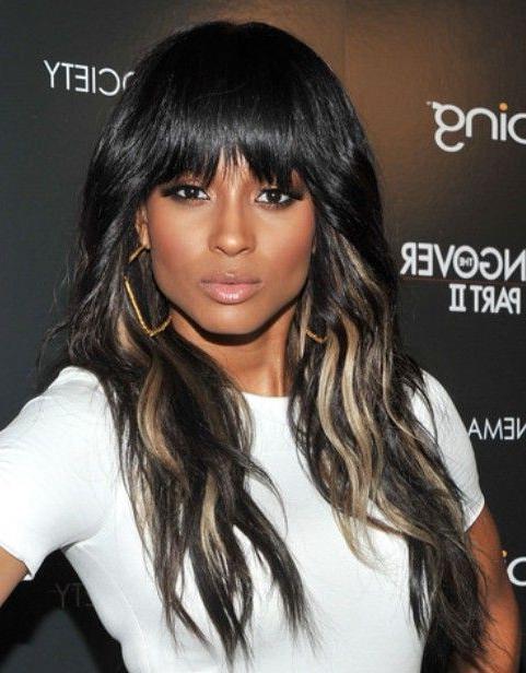 Ciara Long Hairstyle: Highlighted Hair | Bangs | Long Hair Styles Intended For Ciara Long Hairstyles (View 6 of 25)