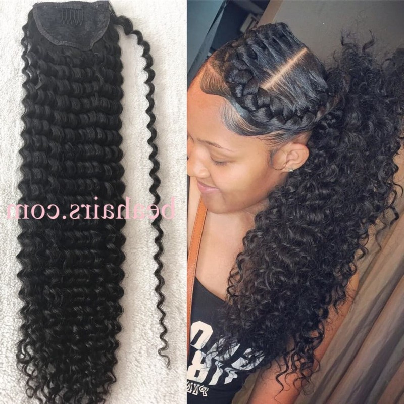 Combs In Human Hair Ponytail Extensions Wrap, Ponytail Hairstyle For Long Hairstyles Extensions (View 17 of 25)
