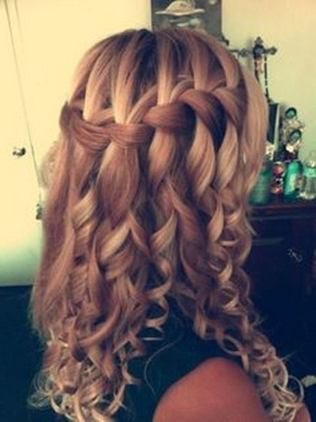 Curly Hairstyles For Graduation …   Hair For Kayla In 2019… Throughout Jewelled Basket Weave Prom Updos (View 5 of 25)