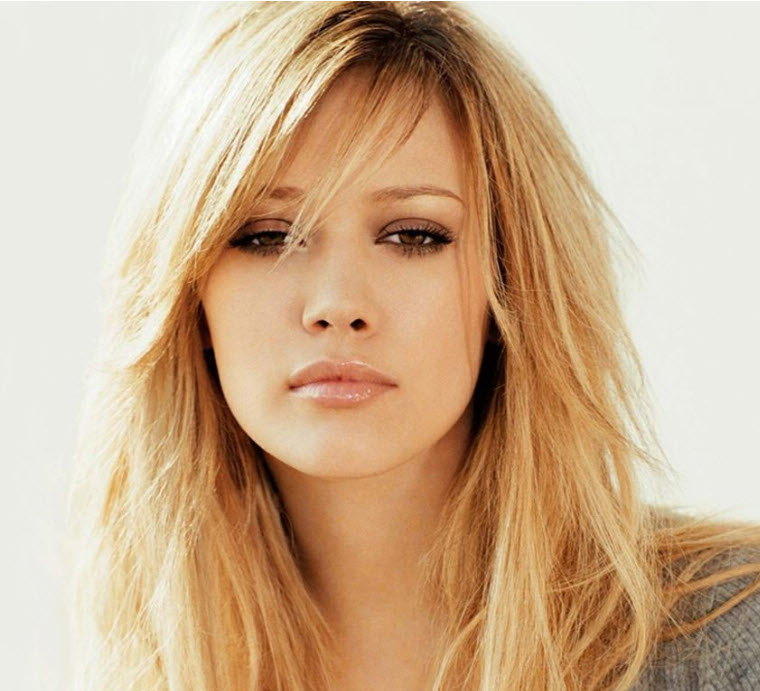 Custom Hilary Duff Blonde Celebrity Lace Wigs Side Swept Bangs Long For Long Hairstyles With Side Swept Bangs And Layers (View 14 of 25)