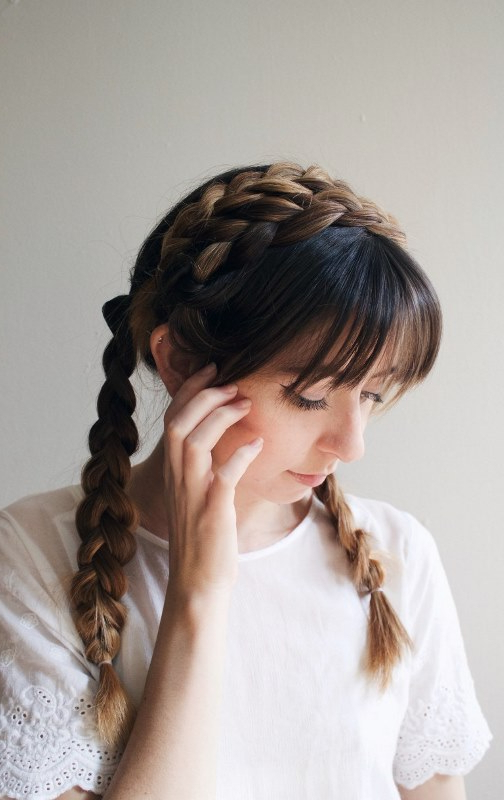 Cute Diy Milkmaid Braids For Thick Hair – Styleoholic Within Braids For Long Thick Hair (View 12 of 25)