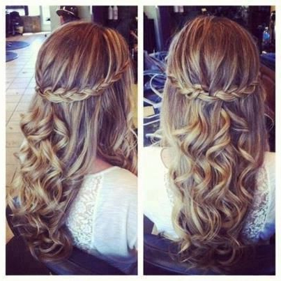 Cute, Half Pulled Back Braid, With Soft Curls | Hair & Makeup | Hair within Long Hairstyles Half Pulled Back