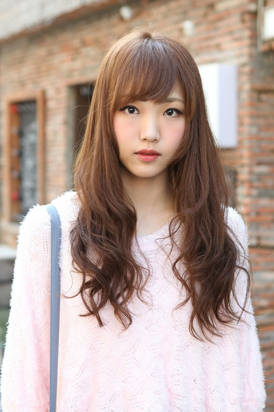 Cute Korean Hairstyle For Girls: Long Brown Hair With Bangs throughout Korean Girl Long Hairstyles
