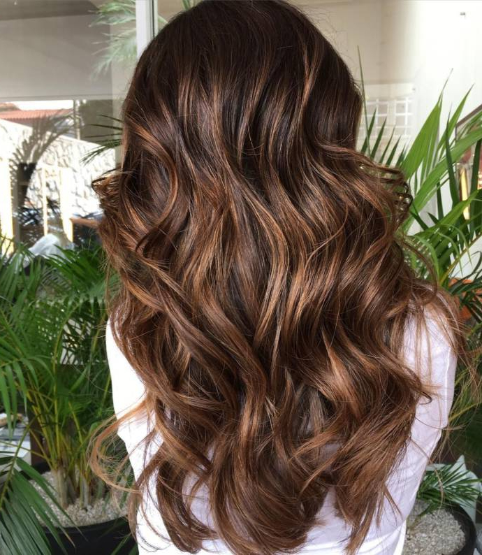 Dark Brown Hair Styles With Highlights And Lowlights in Long Layered Light Chocolate Brown Haircuts