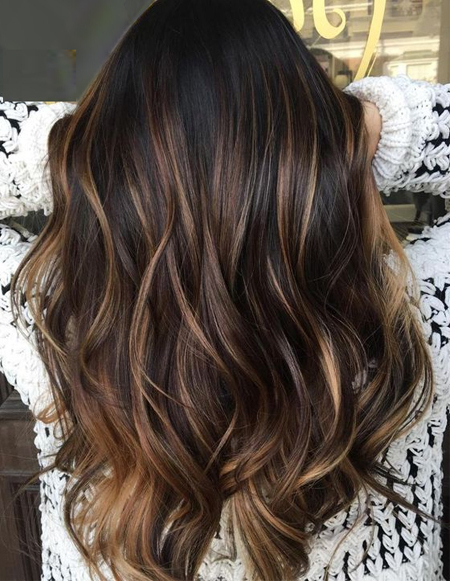 Dark Hair Color With Babylights Highlights Ideas | Convey Deal with regard to Highlights For Long Hair