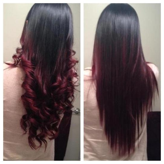 Dark Red Ombre – Long Hairstyles How To In Long Hairstyles Red Ombre (View 5 of 25)
