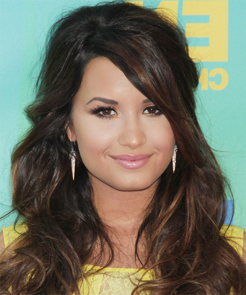 Demi Lovato Casual Long Curly Half Up Hairstyle With Side Swept within Demi Lovato Long Hairstyles