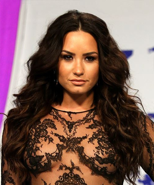 Demi Lovato Casual Long Wavy Hairstyle – Dark Brunette Hair Color Pertaining To Demi Lovato Long Hairstyles (View 19 of 25)