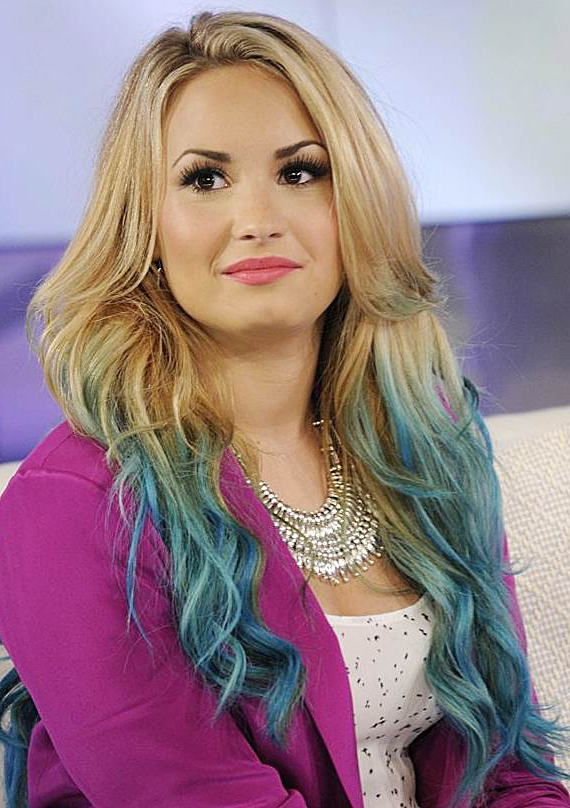 Demi Lovato's Dip Dye Long Wavy Hairstyle - Casual, Party, Evening in Long Hairstyles Dip Dye