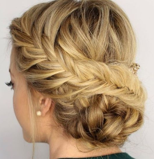 Diagonal Braid And Side Bun #braids | Updo Hairstyles | Hair Styles Pertaining To Diagonal Braid And Loose Bun Hairstyles For Prom (View 2 of 25)