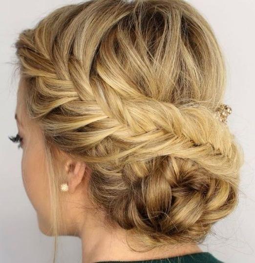 Diagonal Braid And Side Bun #braids | Updo Hairstyles | Hair Styles pertaining to Diagonal Braid And Loose Bun Hairstyles For Prom