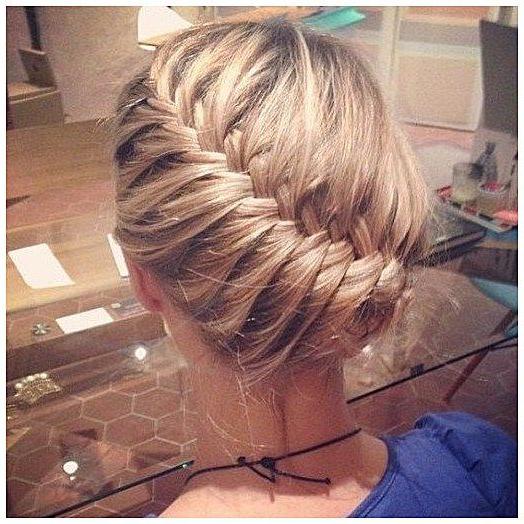Diagonal Braid Updo #braidhair #braid #hair Click Now For More for Diagonal Braid And Loose Bun Hairstyles For Prom