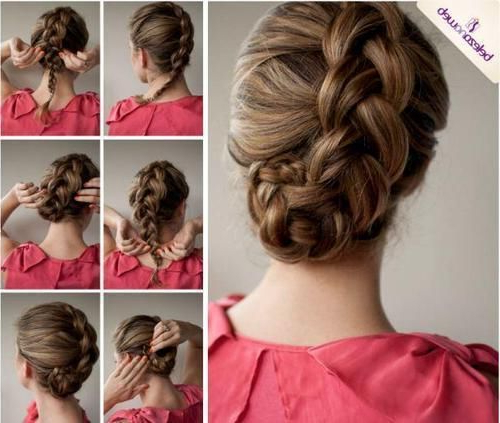 Diagonal French Braid Into Bun. Don't Forget To Loosen The Braid in Diagonal Braid And Loose Bun Hairstyles For Prom