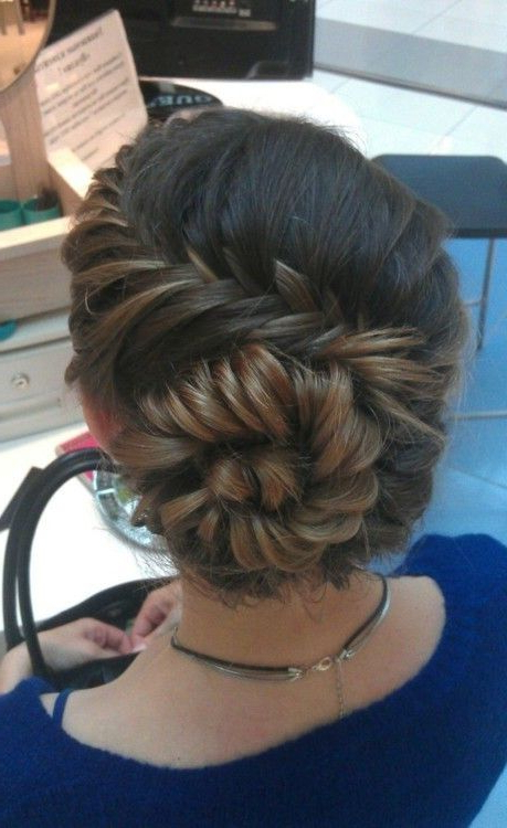 Diagonal French Fishtail Ending In A Bun | Hair | Hair Styles, Prom with regard to Diagonal Braid And Loose Bun Hairstyles For Prom