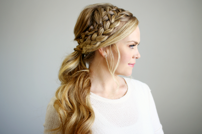Double Braided Ponytail with Double Braided Prom Updos