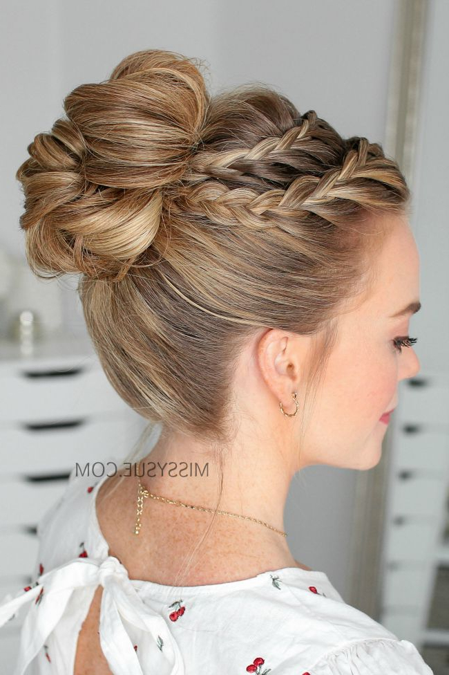 Double Lace Braid High Bun | Hair | Braided Hairstyles, Prom Hair For Double Braided Prom Updos (View 5 of 25)