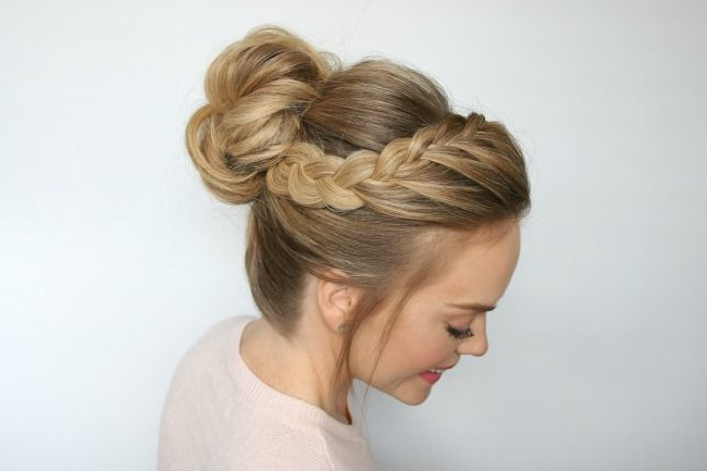 Double Lace Braid High Bun | | Tangled | | Hair Styles, Braided Inside Braid And Fluffy Bun Prom Hairstyles (View 6 of 25)