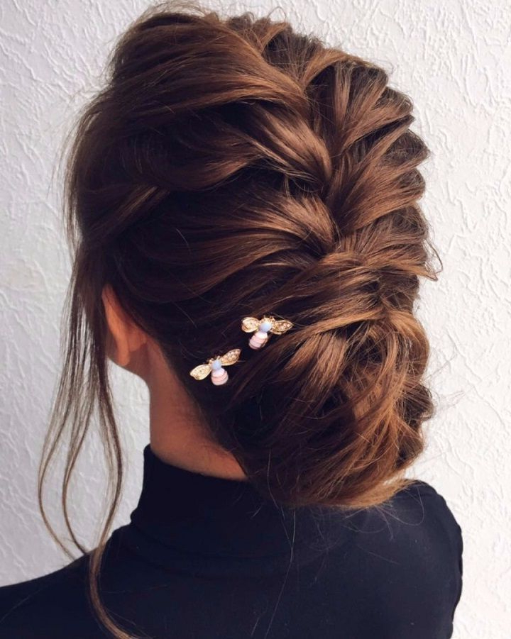 Elegant And Pretty Hairdo | Cool Hair Styles/nail Designs In 2019 Intended For Braided And Twisted Off Center Prom Updos (View 10 of 25)