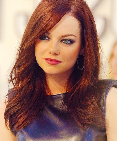 Emma Stone's Long Hairstyles: Red Straight Hair – Popular Haircuts Inside Long Hairstyles Red Hair (View 3 of 25)