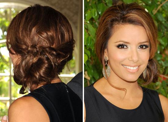 Eva Longoria Side Bun Prom Hairstyles | Sophie Hairstyles – 7686 Regarding Side Bun Prom Hairstyles With Black Feathers (View 12 of 25)