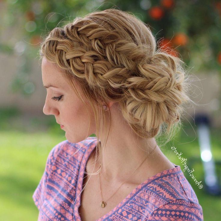 Every High School Girl Should Try These Prom Updos For Long Hair With Fishtailed Snail Bun Prom Hairstyles (View 6 of 25)