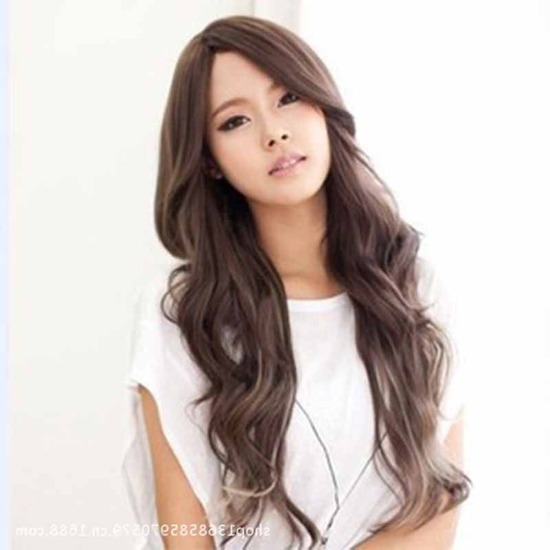 Fashion Long Black Light Brown Curly Wigs Korean Hairstyle Perruque Regarding Korean Long Hairstyles (View 13 of 25)