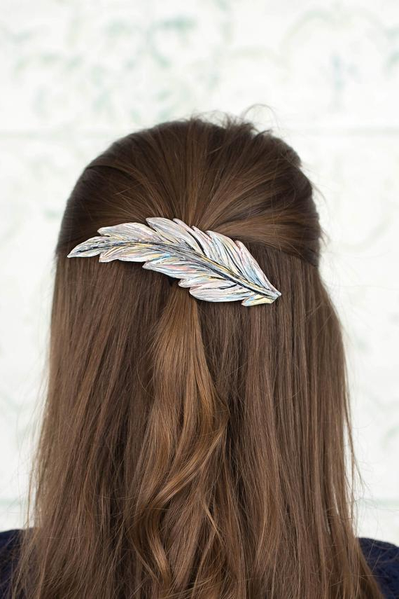 Feather Hair Clip Feather Barrette Large Hair Barrette Clip | Etsy pertaining to Hair Clips For Thick Long Hair