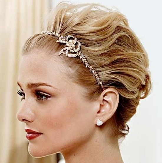 For Short Hair: Teased And Straight Back With Any Headband | Style Within Teased Prom Updos With Cute Headband (View 6 of 25)