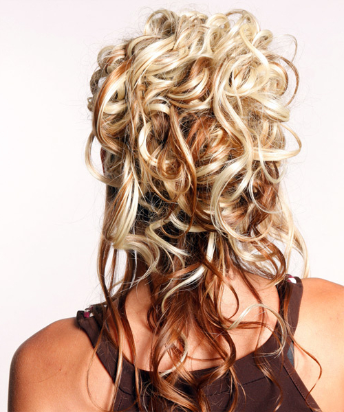 Formal Long Curly Half Up Hairstyle inside Long Layered Half-Curled Hairstyles