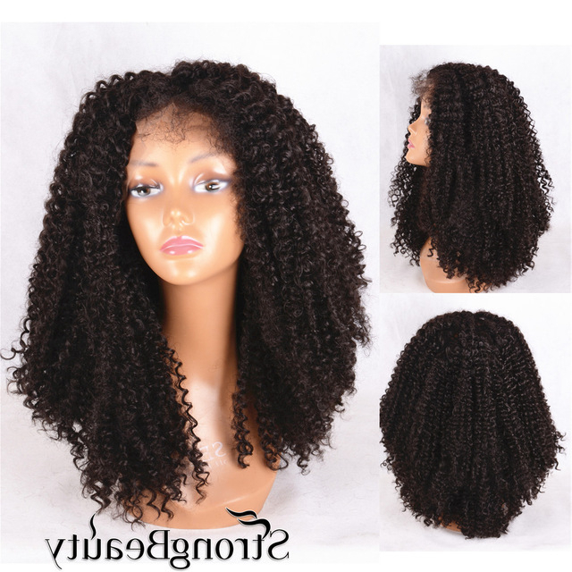 Front Lace Wig Long Kinky Curly #2 Dark Brown Curly Weave Hairstyles Within Long Kinky Hairstyles (View 15 of 25)