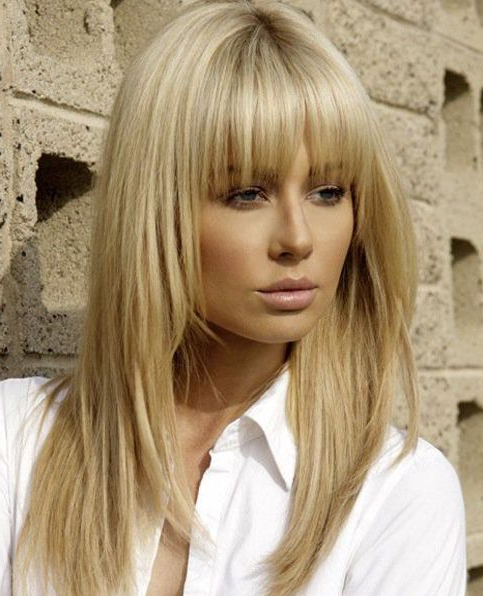 Full Fringe Long Hairstyles With Blonde Shades | Bangs | Blonde Hair intended for Fringe Long Hairstyles