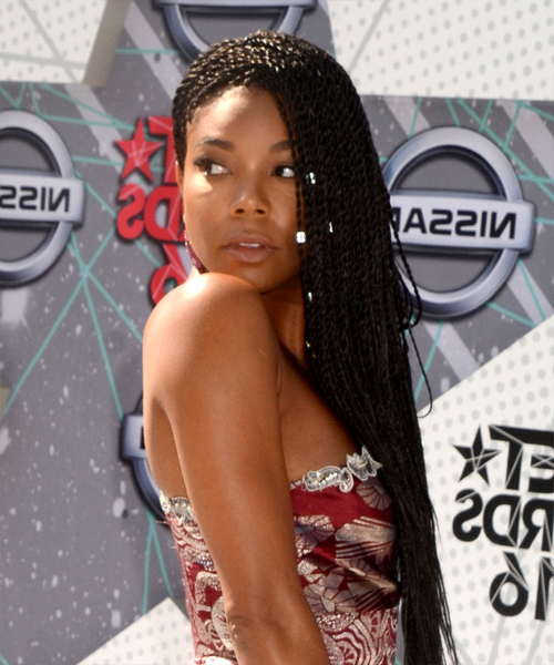 Gabrielle Union Casual Long Curly Braided Hairstyle – Black Hair Color With Regard To Casual Braids For Long Hair (View 23 of 25)