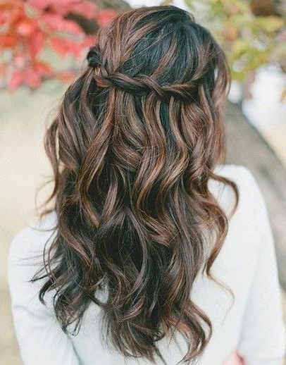 Go Boho Chic With Tousled Waves And A Waterfall Braid pertaining to Chic Waterfall Braid Prom Updos