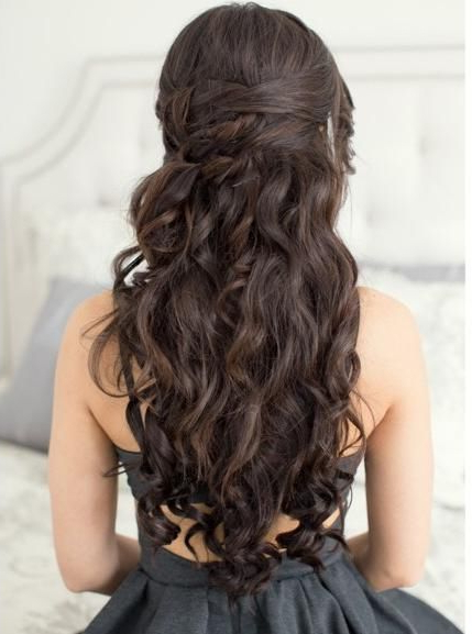 Gorgeous Dark Brown Curls With A Braid Twist, A Beautiful Look For inside Twisted Prom Hairstyles Over One Shoulder