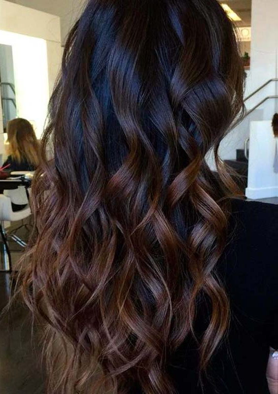 Gorgeous Long Layered Hair With Chocolate Brown Balayage | Images Intended For Balayage Hairstyles For Long Layers (View 20 of 25)