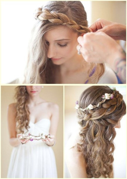 Hair Accessory, Hairstyles, Hair Band, Flower Crown, Floral Top With Floral Braid Crowns Hairstyles For Prom (View 13 of 25)