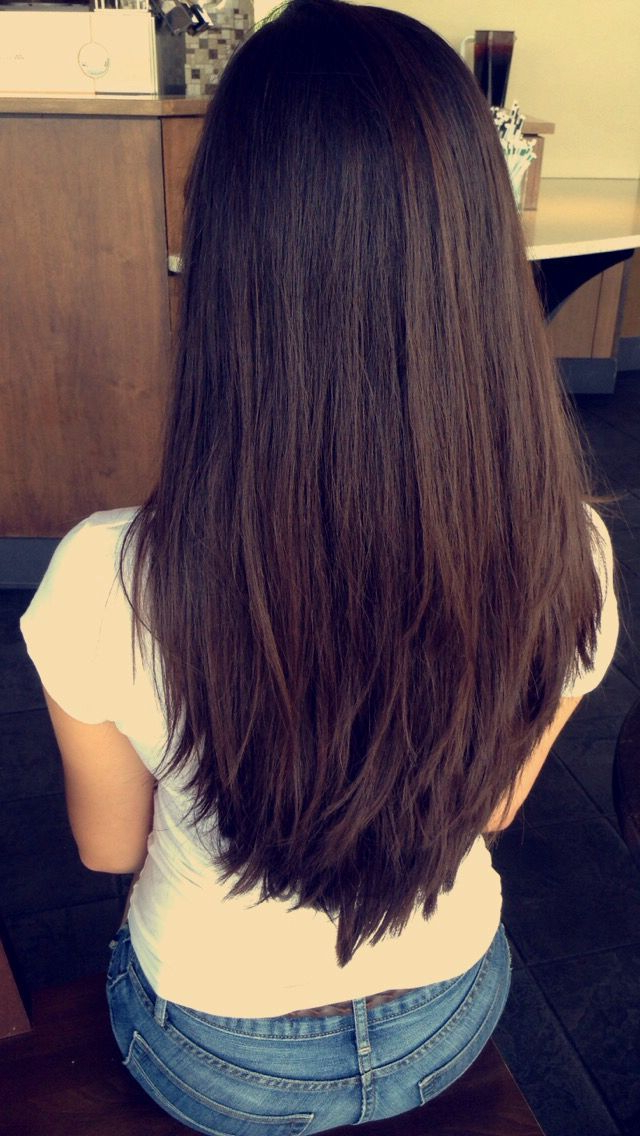 Haircuts For Long Hair: Long Deep Espresso Brown Hair With Short With Long Hairstyles V Cut (View 4 of 25)