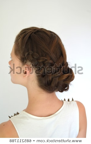Hairstyle Braiding On Medium Length Stock Photo (Edit Now) 685211788 For Braid Spikelet Prom Hairstyles (View 20 of 25)