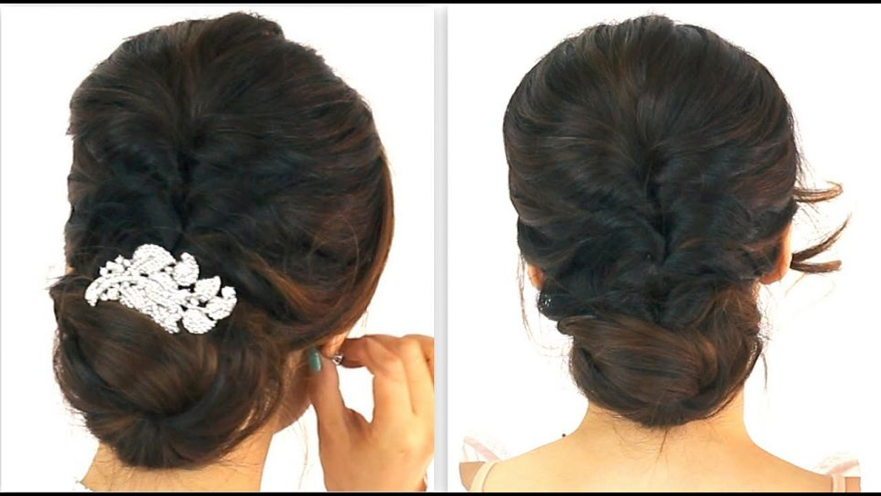 Hairstyles : E29886 5Min Easiest Party Updo Everyday Braided Bun Inside Braid And Fluffy Bun Prom Hairstyles (View 24 of 25)