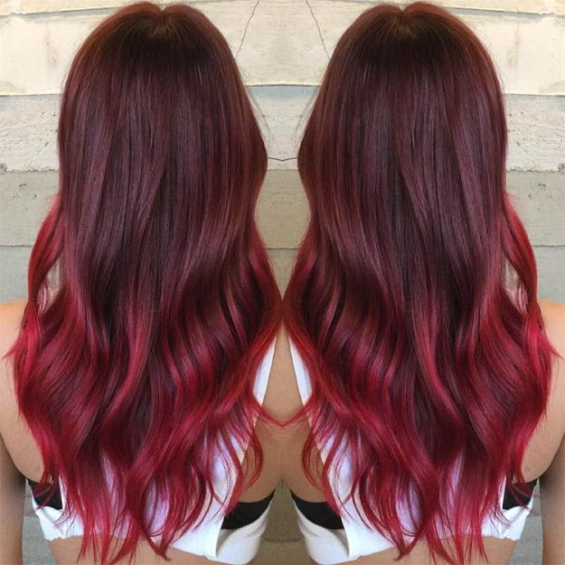 Hairstyles For Long Hair : Burgundy Red Ombre | 15 Ombre Hair Color Within Long Hairstyles Red Ombre (View 12 of 25)