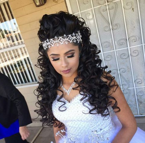 Hairstyles For Quinceaneras With Curly Hair – Short Curly Hair With Long Curly Quinceanera Hairstyles (View 16 of 25)