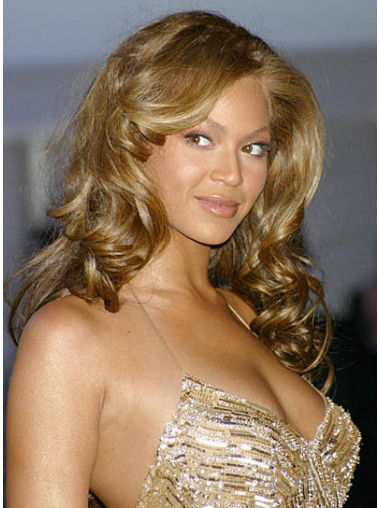 "Hairstyles Without Bangs Curly 24"" Beyonce Blonde Long Human Hair Wigs For Long Hairstyles Without Fringe (View 24 of 25)"