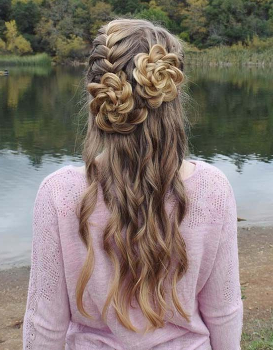 Half Up French + Rosette Braided Hairstyle   Hair   Hair Styles With Rosette Curls Prom Hairstyles (View 15 of 25)