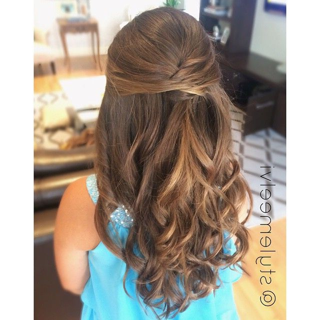 Half Up Hairstyles Are Ideal For Flower Girls And Other Little One's Within Long Hairstyles Half Pulled Back (View 5 of 25)