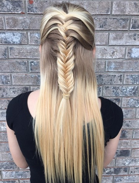 Half Up Hairstyles With Fishtail Braid – 25 Long Hairstyle Ideas With Regard To Long Hairstyles Half Up (View 16 of 25)