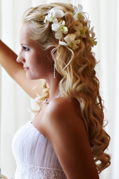 Half Up – Half Down Bridal Hair With Orchids   Wedding Planner With Regard To Side Bun Prom Hairstyles With Orchids (View 11 of 25)
