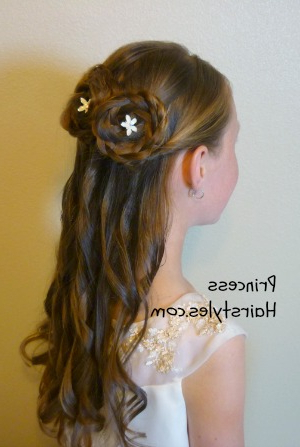 Half Up Rosette Buns, Flower Girl Hairstyles   Hairstyles For Girls With Regard To Rosette Curls Prom Hairstyles (View 25 of 25)